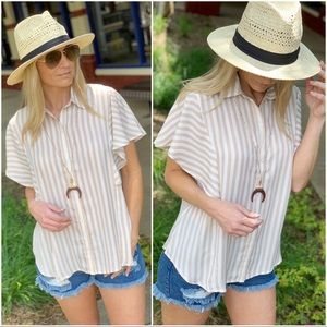 Infinity Raine Tops - RESTOCK✨Taupe striped button up Flutter Sleeve top